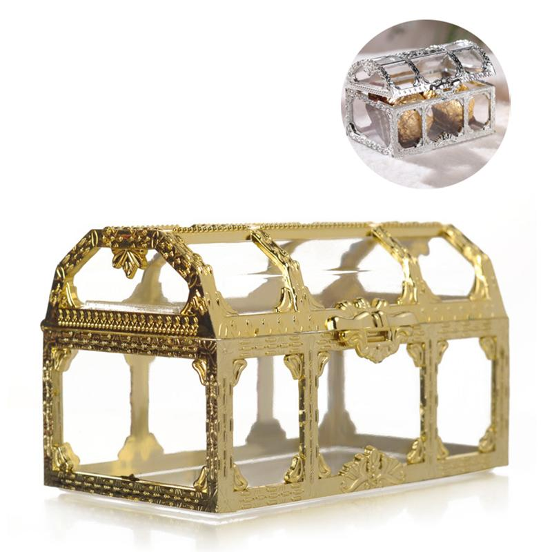 DIY Treasure Chest Jewelry Boxes Gift Wrap Mini Wedding Candy Box Plastic Storage Organizer Container Weddings Party Gifts