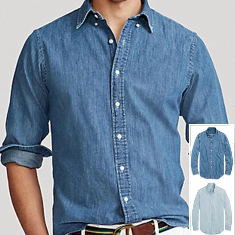 Chemises occasionnelles pour hommes Automne Streetwear Hommes Petite Qualité de cheval 100Cotton Denim Jeans Camisa Masculina Longue Manches Social Hombre Chemise Humm
