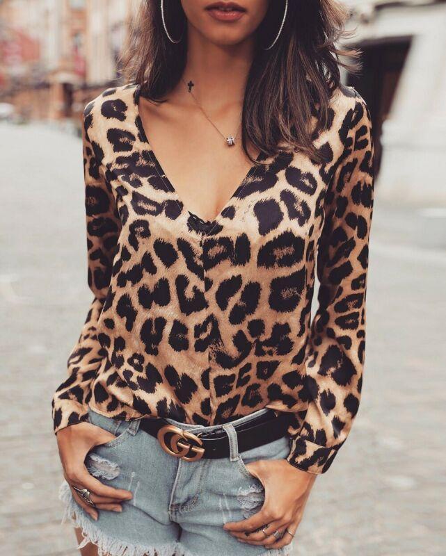 Blusas para mujer camisas para mujer de manga larga leopardo estampado tops blusa otoño casual suelto v camisa