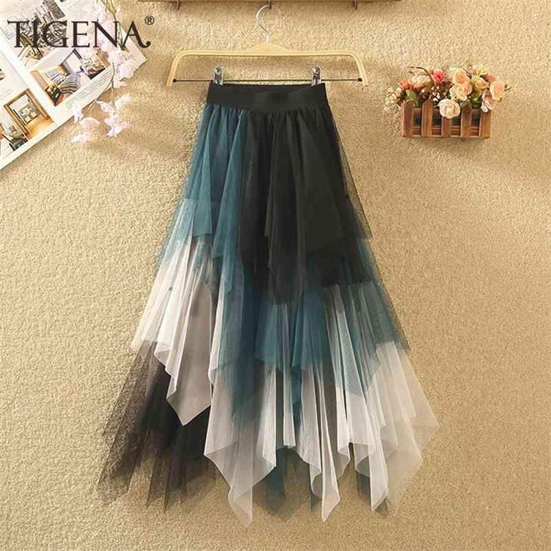 Tigena Long Tutu Tulle Falda Mujer Moda Moda Verano Coreano Verregular Contraste Color Alto Cintura Plisada Maxi Falda Mujer 210324