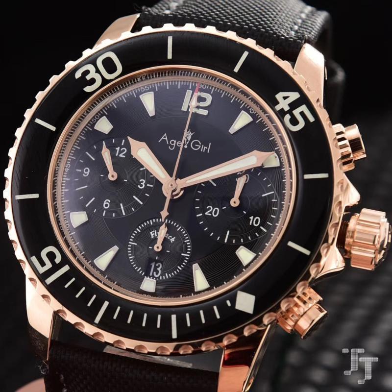 Klassische Männer Edelstahl Automatische mechanische Flyback Nylon Leder ETA 7750 Limited Uhr Silber Rose Gold + Armbanduhren
