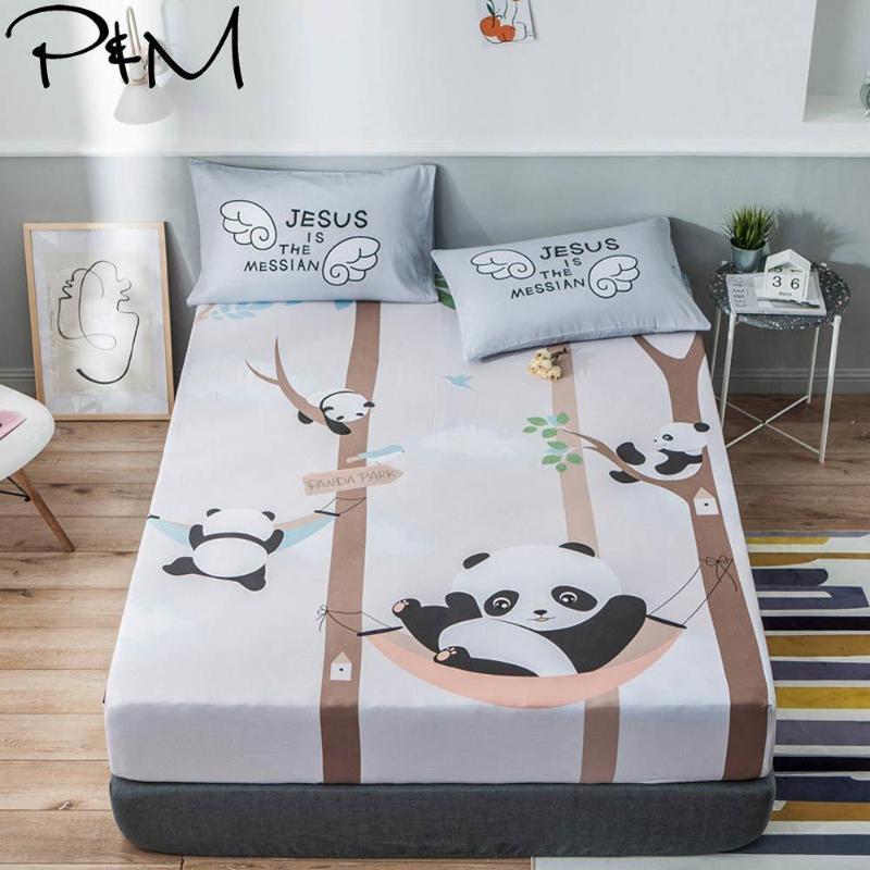 Almofada de colchão ajustada dos colchões da folha dos pandas cinzentas bonitos com faixa elástica de algodão120x200cm / 150x200cm / 180x200cm conjuntos