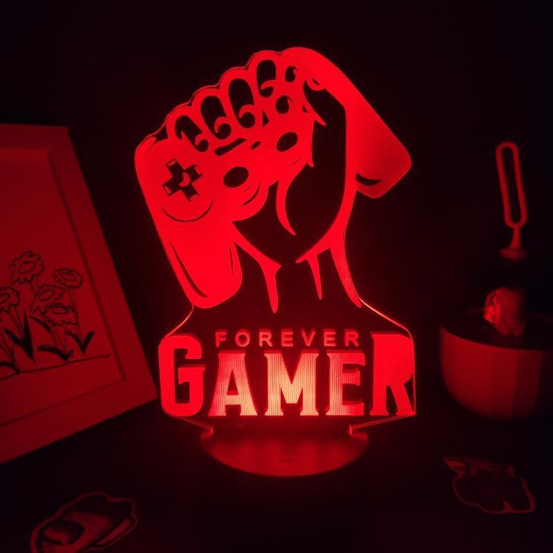 Gece Işıkları Sonsuza Gamer Gamepad 3D Lambalar LED RGB Doğum Günü Serin Neon Hediye Arkadaş Yatak Oyun Odası Masa Renkli Dekorasyon