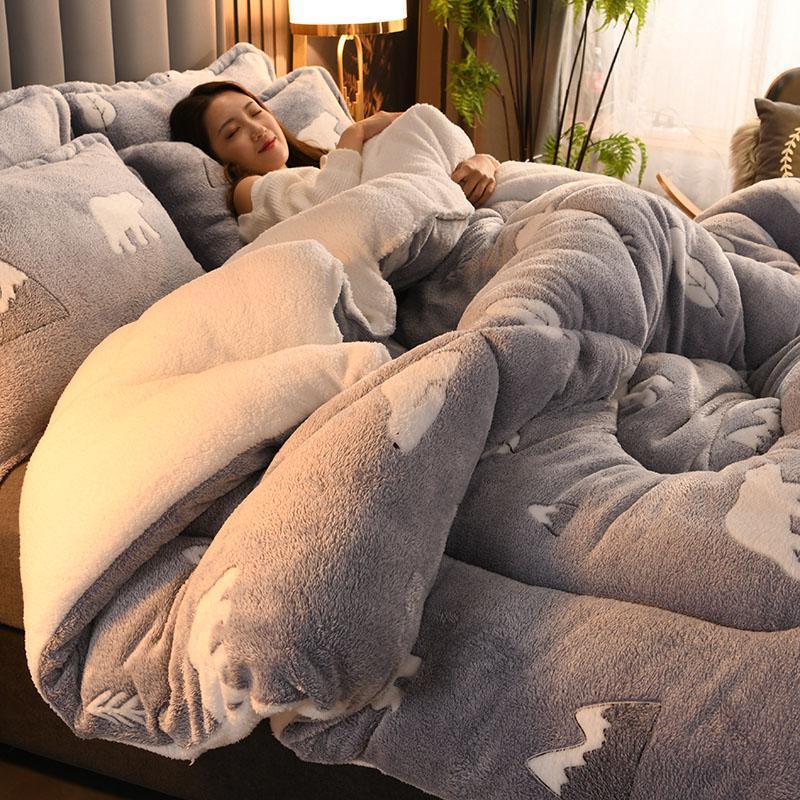 Bettdecken Sets Winterquilts Dicke Lammwolle Fleece Halten Sie warme Quilt-Studentenwohnheim-Kinder-Kinderbetten-Königs-Königin in voller Größe