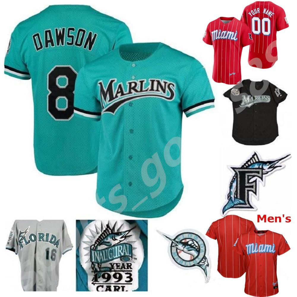 Mens Marlins Jersey 8 Andre Dawson 3 Carl Everett 19 Miguel Rojas 16 Geronimo Berroa 31 Mike Piazza 35 Dontrelle Willis Retro Baseball Jersesy