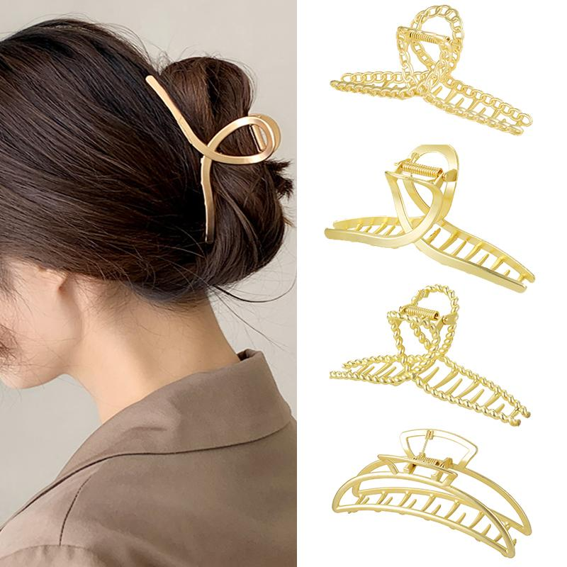 Chic Barrettes Hair Claws for Women Girls Hairclips Elegant Metal Barrette Clamps Hairpins Crab Accessories Headwear Jewelry