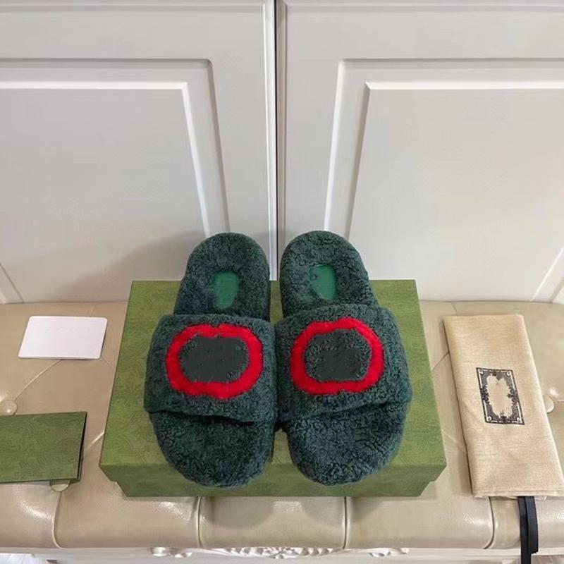 2021 mujeres de moda zapatos planos diseñadores zapatillas zapatillas zapatillas zapatillas de alta calidad lana real sandal sandal diapositivas verdes colores blanco con caja EU41