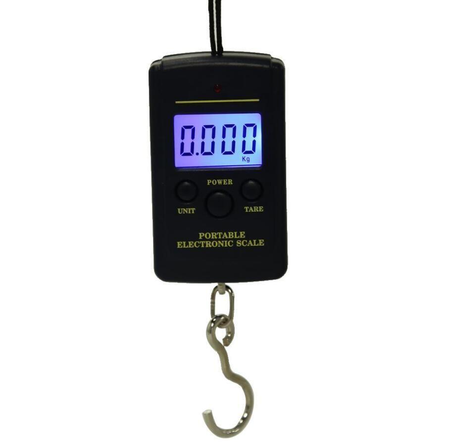 40kg x 10 g Mini escala digital para pesca Equipaje Viaje Ponderación Steelyard Colgando de gancho electrónico Escala de cocina Herramienta de peso