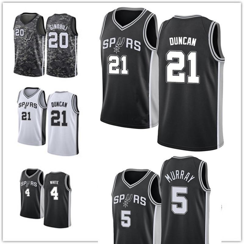 "San ""Antonio"" Spurs ""Jersey Tim 21 Duncan Dejounte 5 Murray Derrick 4 Demar White 10 Derozan كرة السلة الفانيلة"