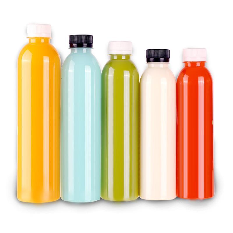 Suco de estimação garrafa vazia garrafa reutilizável recipientes descartáveis descartáveis branco tampa para sucos e outras bebidas