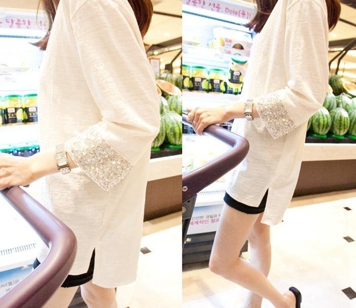 T Shirt 2021 Primavera y otoño ocasional de lentejuelas de lentejuelas de lentejuelas de longitud de longitud del medio algodón redonda NE largo camiseta para las mujeres