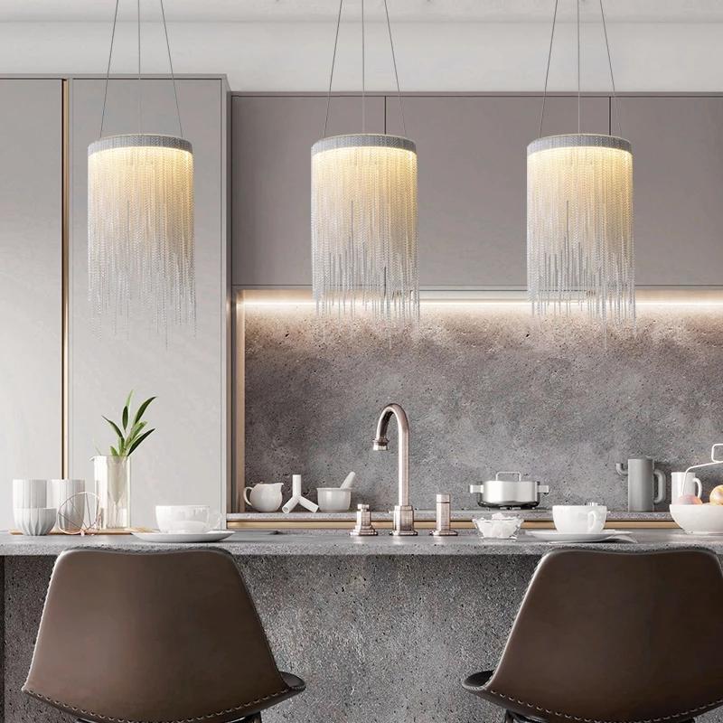 أضواء قلادة الحديثة مصباح سلسلة مصباح المطبخ غرفة الطعام أدى الإضاءة الداخلية لاعبا اساسيا بسيطة بريق ديكور المنزل