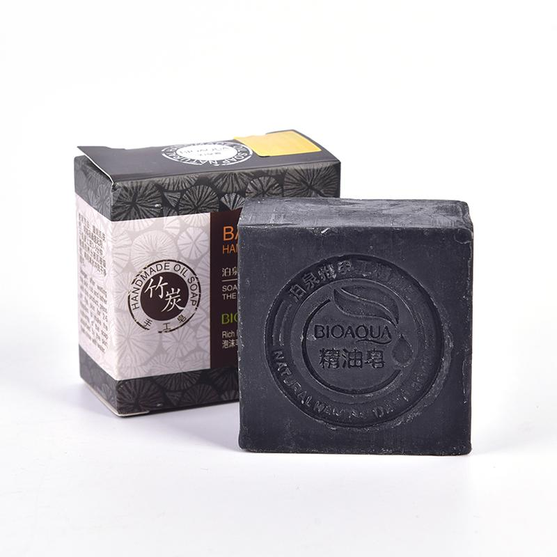 Natural Black Bamboo Oil Soap Organic Herbal Essential Whitening Handmade Soap Skin Remove Acne Deep Cleansing Face Hair Care