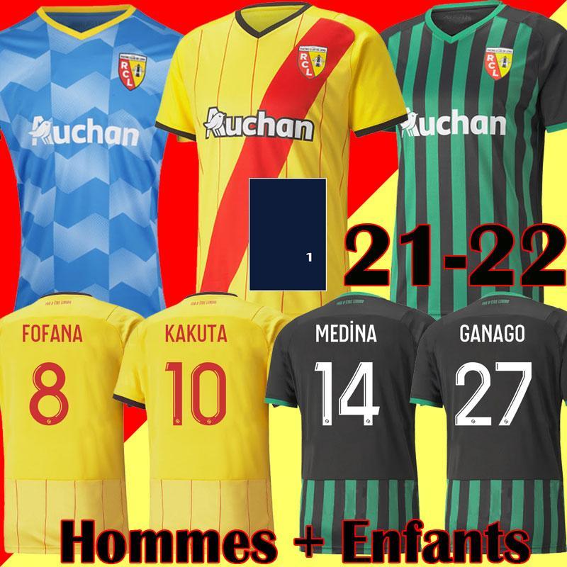 21 22 Maillots RC Lente Futebol Jerseys Ganago Gradit Fortes Cahuzac Perez 2021 2022 Lente Camisas de Futebol Mauricio Kits Kakuta Maillot de pé