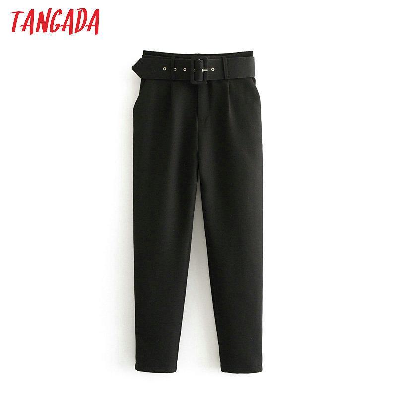 Tangada Traje Negro Mujer Alta Cintura Fashes Pockets Office Señoras Moda Moda Envejecido Pink Pantalones Amarillos 6A22