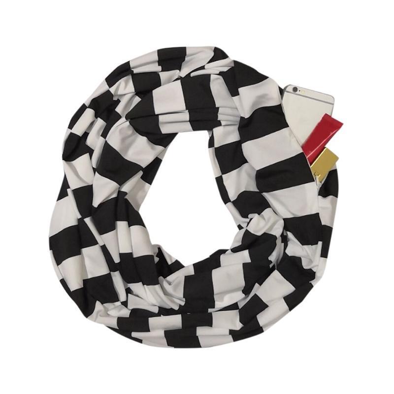 Hüte, Schalshandschuhe Sets 2021 LY Mode Frauen Streifen Winter Cabrio Infinity Scarf Pocket Loop Reißverschluss Free #a