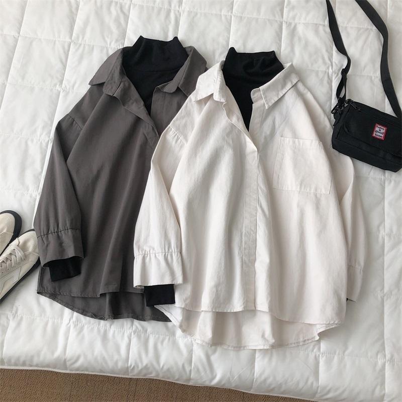 봄과 가을 청소년 splicing 가짜 두 조각 긴 소매 셔츠 패션 캐주얼 탑 화이트 / 회색 M-2XL 남자 셔츠