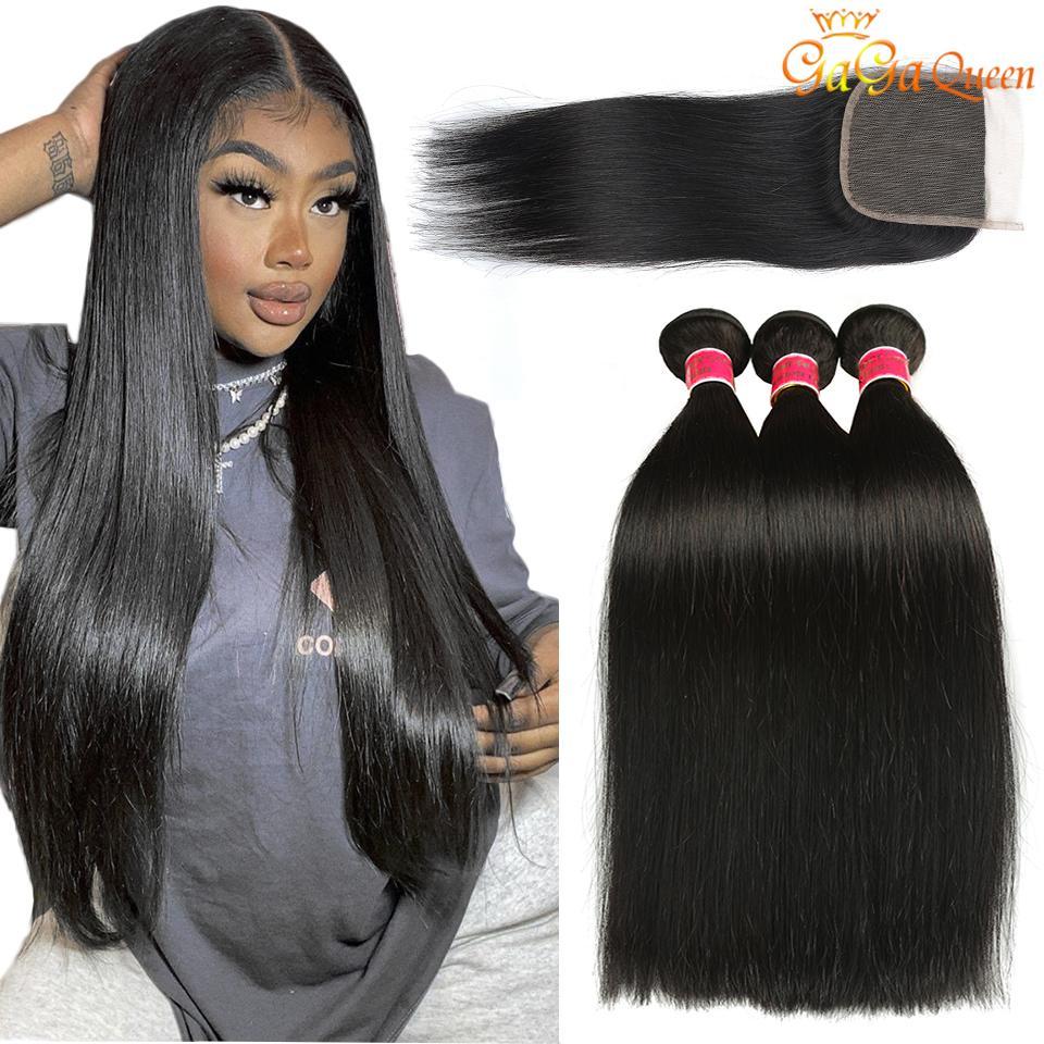 Перуанские прямые пакеты волос человека с окуплением перуанских волос девственницы с 4x4 кружевной крышкой перуанские малазийские индийские пакеты волос