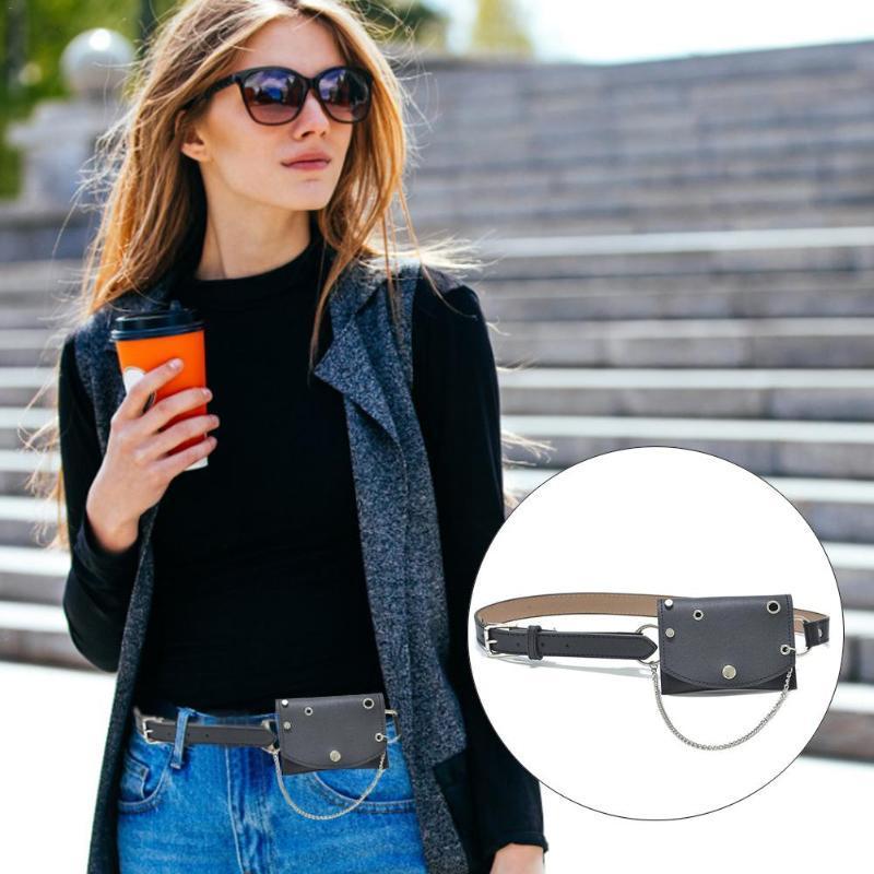 أحزمة المرأة حزام مع حقيبة مرفقة من المألوف تنوعي نمط الشرير سلسلة الديكور الأزياء المعدنية