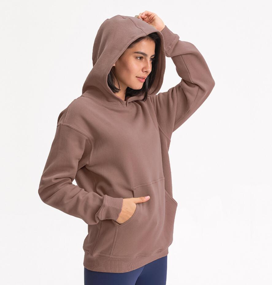 Yogaworld Hoodies Outdoor Leisure Sweater Gym Clothes Women Tops Workout Fitness Loose Thick Yoga Jackets Exercise Running Hooded Coat