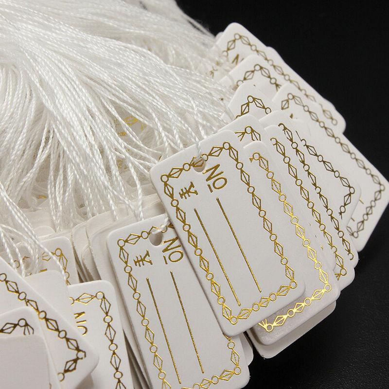 100Pcs/lot Kraft Paper Tags Label Luggage Wedding Note +String DIY Blank price Hang tag Kraft Gift Silver Gold Colors Wholesale