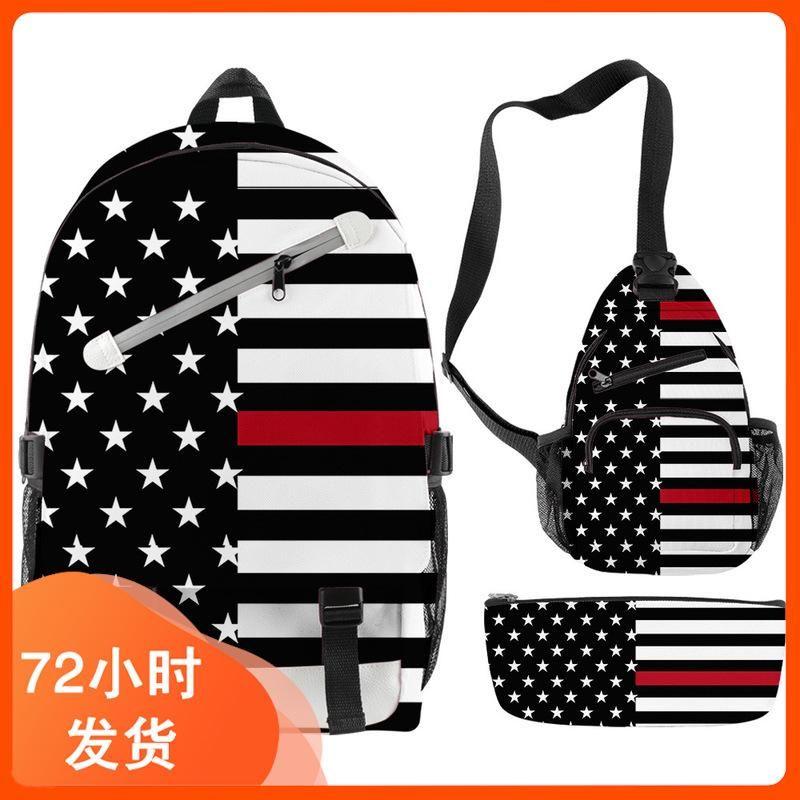 Backpack 3 D Digital Printing Slash 2021 Cross-border Flag Zipper Suit To Figure Custom