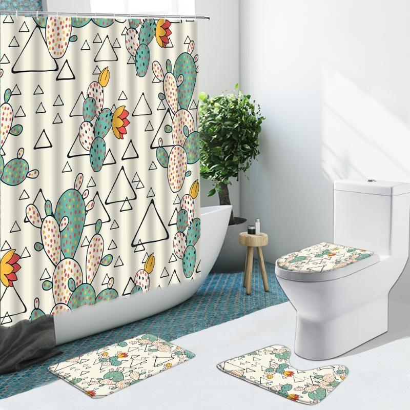 Duschvorhänge Tropische Pflanze Kaktus Geometrie Badezimmer Set Vorhang Rutschfeste Teppiche Flanell WC-Abdeckung mit Haken Badematte Indoor Decor