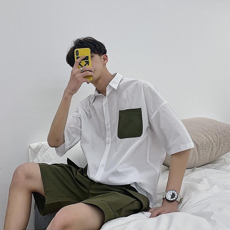 Летняя платье рубашка мужская мода сплошной цвет повседневная мужчина уличная одежда Trend Wild Hip Hop Свободные рубашки с короткими рукавами