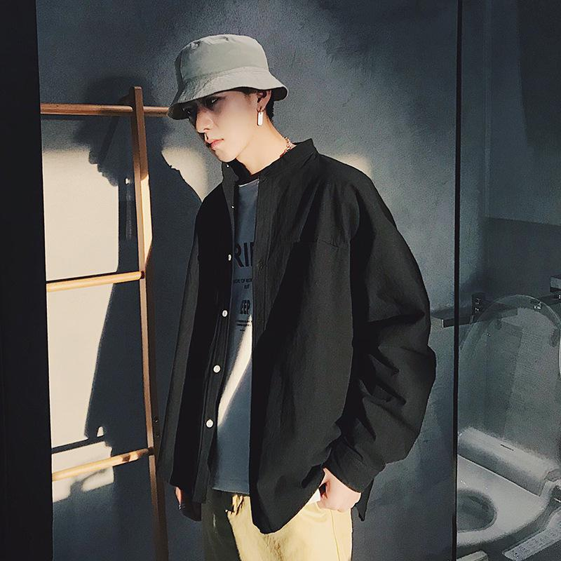 Manga comprida Moda coreana Preto Collar bonito solto casual masculina camisa na moda casaco