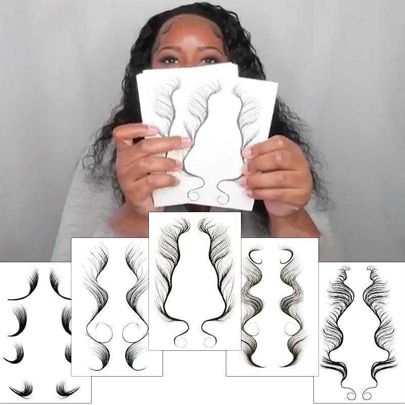 5 opciones Fake Woman Baby Curly Hair Bordes Tatuaje Pegatina DIY Natural Temporal Impermeable Face Hole Herramienta de maquillaje Pony Tail Styles Sleek Bangs Decal Design
