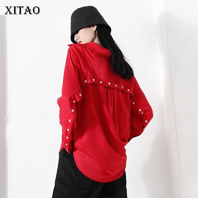 Xitao Button Pocket Hollow Out Red Blusa Camicetta Donne 2020 Autunno Tide Moda Nuovo Turn Down Collar Manica lunga personalità ZP1727 R8YY #