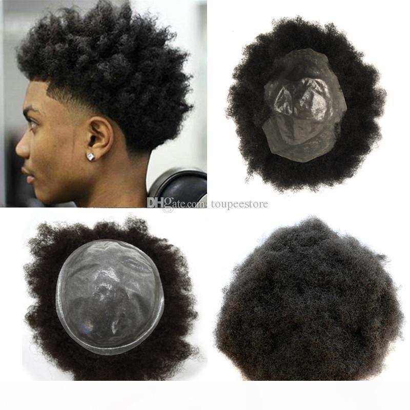 Erkek peruk afro kıvırcık pu erkekler peruk poli cilt peruk erkekler için yedek sistem İnsan saç remy saç 8x10 inç siyah peruk tüyü