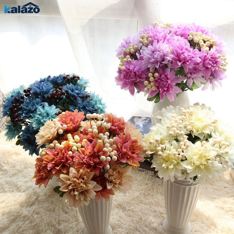 Cabeças artificiais Dahlia Flor Berry Fake Wedding Home Escritório Decorativo DIY Noiva Mão Flores Grinaldas