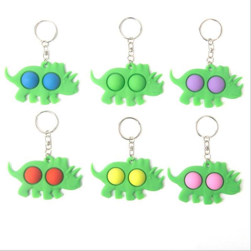 Push Bubble Keychain Kids Party Favor Novel Fidget keychains Dimple Toy Toys Key Holder Rings Bag Pendants