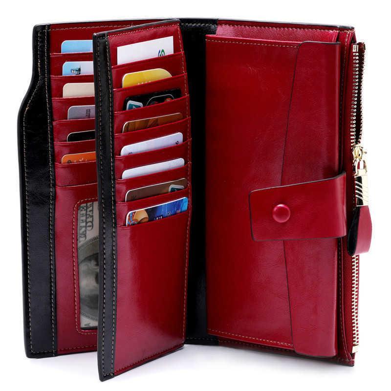 Mode Echtes Leder Frauen Brieftasche Weibliche Handy Tasche Lange Frauen Geldbörsen Haspe Öl Wachs Leder Lady Münz Geldbörse Kartenhalter 200930