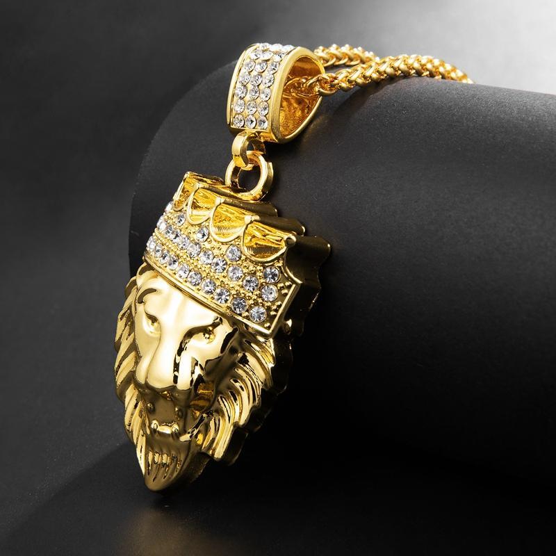 Herren Hip Hop Gold Cuban Link Kette Löwe Kopf King Crown Anhänger Halskette Modeschmuck