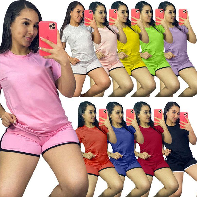 المرأة رياضية الصلبة قطعتين مجموعة تي شيرت السراويل الصيف زائد الحجم 2xl طاقم الرقبة الرقبة قمصان الرياضية + السراويل القصيرة الركض الدعاوى 4328