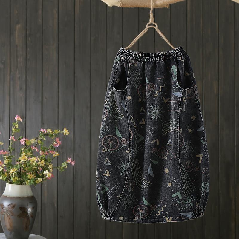 Röcke 2021 Mode Denim All-Match Casual Jeans Rock Elastische Taille Lange Mid-Calf-Knospe für Frauen Frühling Herbst