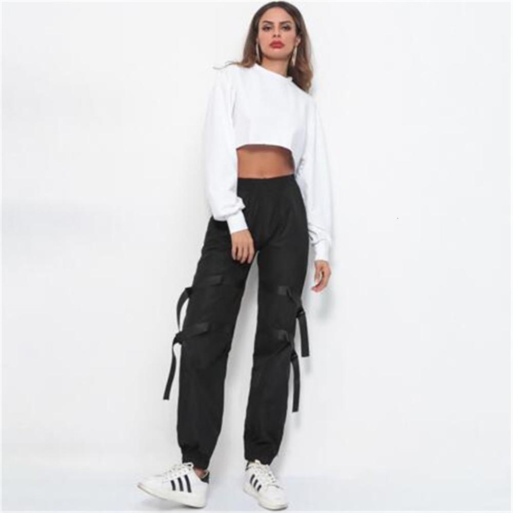 Pantaloni di nastro di moda Pantaloni da donna Allentati Pantaloni Fitness Signore Slim Cargo Pantses Street Hip Hop Pantaloni da jogging Pantaloni per studenti