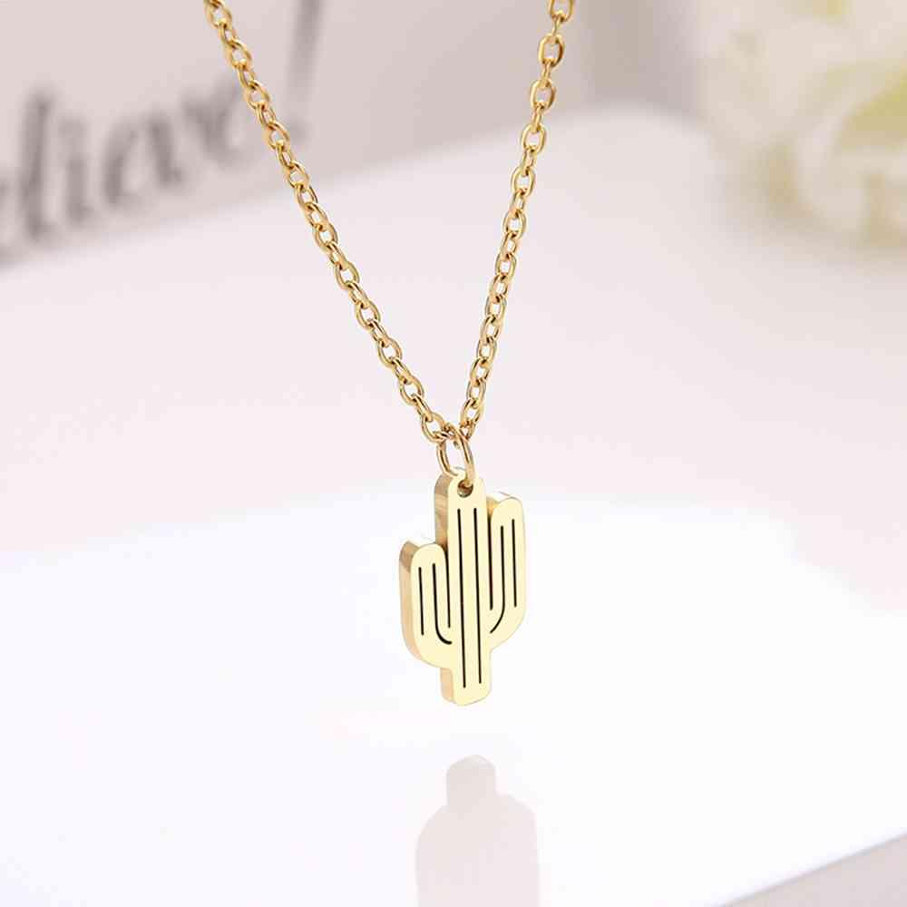 Necklace Cacana Stainless Steel for Women Hollow Cactus Choker Chain Pendant Gold Necklaces Engagement Jewelry