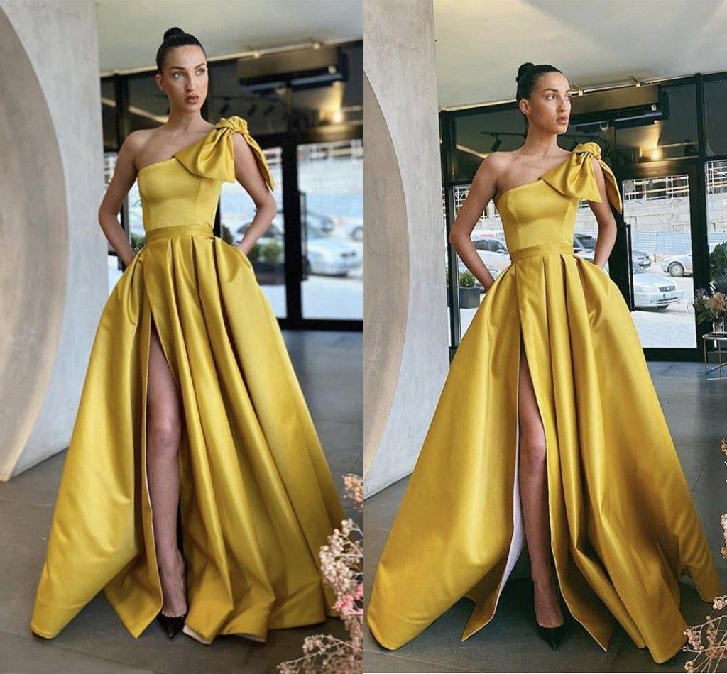Плюс размер Daffodil вечерние платья Дубай Ближний Восток Высокая сторона Сплит Одно плечо Формальные платья Party Prom Prom Prop Vestidos De Festa Custom