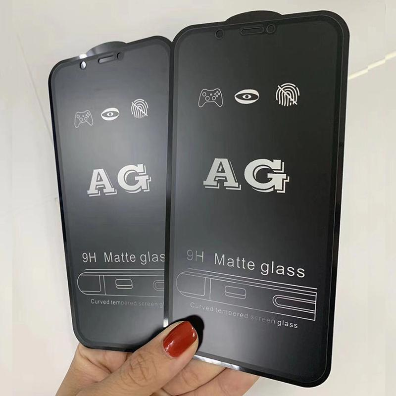 AG ماتي الزجاج المقسى الحرس flim مكافحة بصمات الأصابع حامي الشاشة انفجار منحني منحني قسط غطاء درع لفون 13 برو ماكس 12 ميني 11 XS XR X 8 7