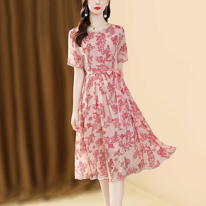 Nur plus Kordelzug Lose Gedruckt Kleid Frauen Sommer Kurzarm Chiffon Rosa Vintage Hohe Taille Elegante Kleid A-Line 210603