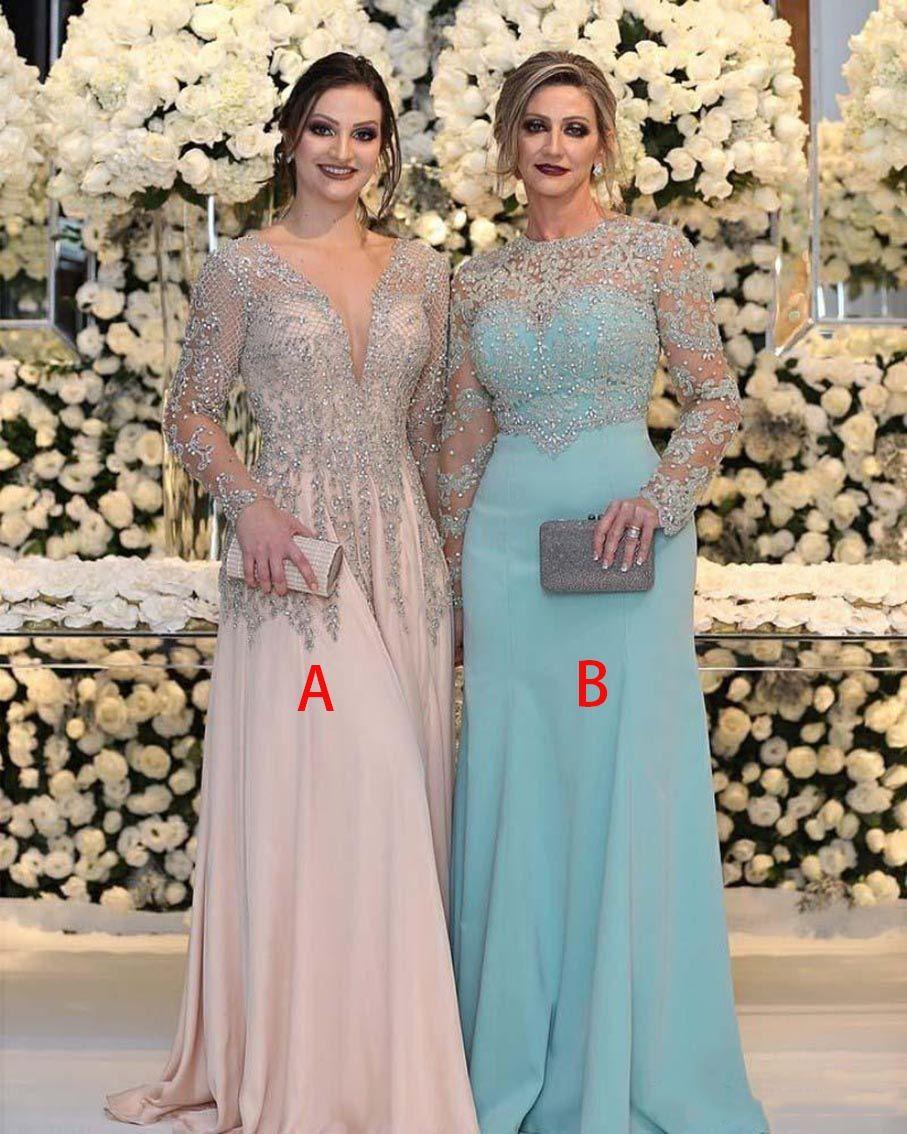 Perle de luxe Sequins de cristaux de la mariée Robes à manches longues à manches longues V er rose Pink Plus Taille Formel Party Robes de bal
