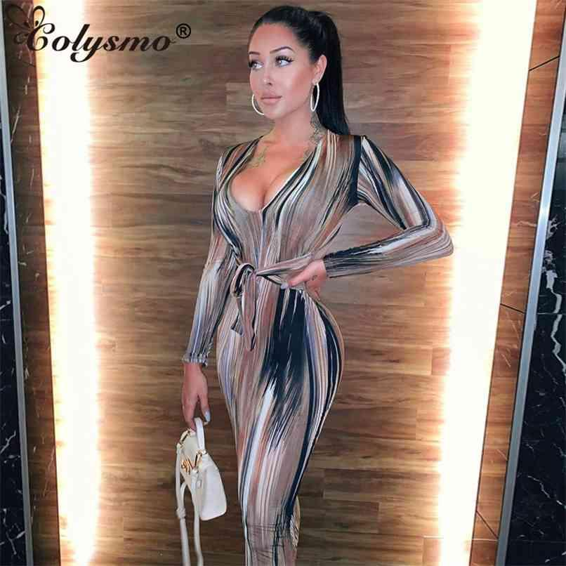 Imprimir profundo pescoço midi vestido mulheres manga comprida bodycon festa clube desgaste casual elastic inverno es slim vestidos 210521