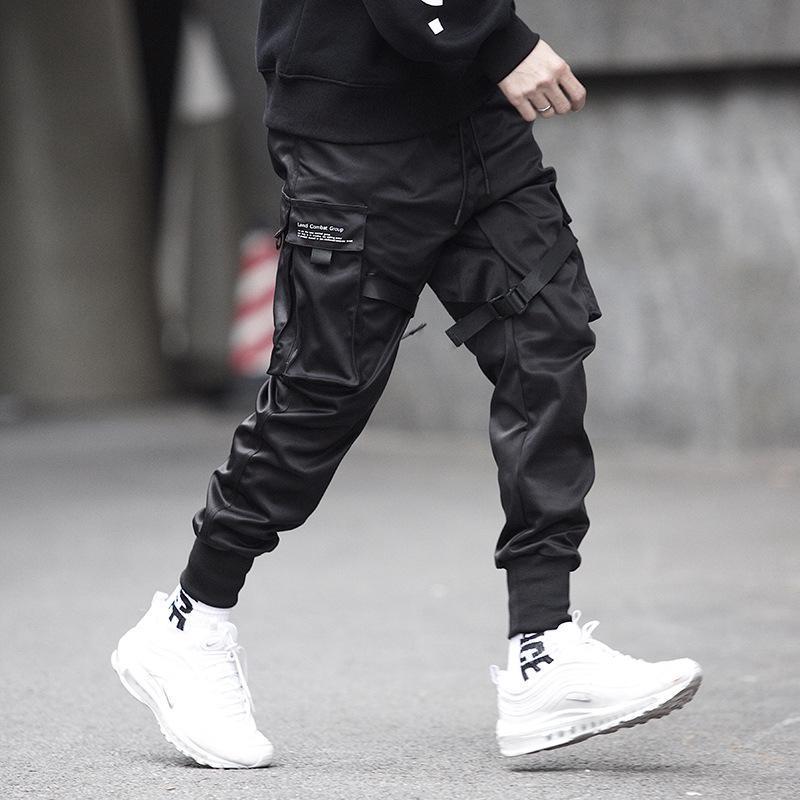 Joggers Men Black Tactics Cargo Pants Hip Hop Streetwear Pencil Sweatpants Ribbon Pocket Trousers Elastic Waist HG094 Men's