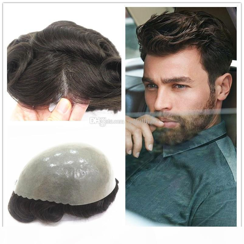 Human Hair Mens Toupee 10*8 inch Wave Thin Skin Full Pu Toupee For Men Hairpieces Replacement System Men Wigs