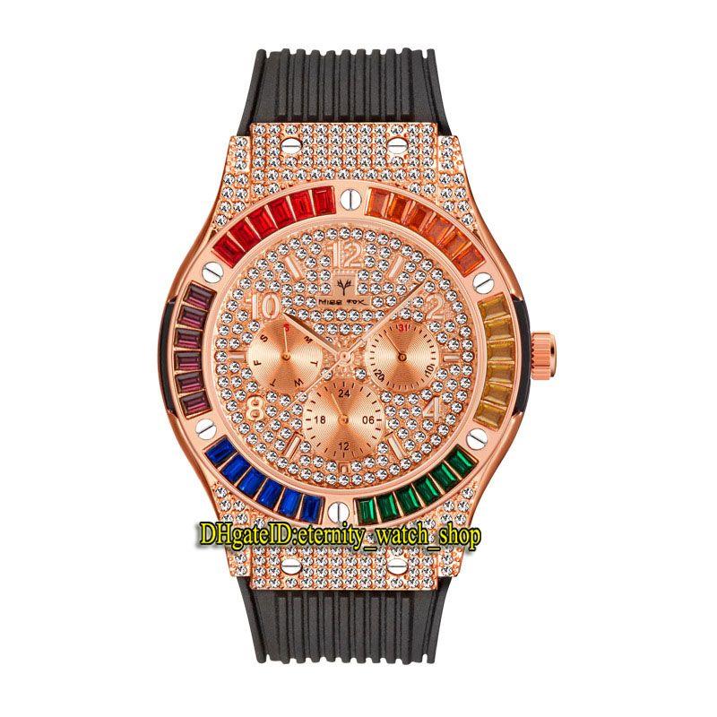 MissFox Eternidade V315 2 Hip Hop Moda Mens Mens Relógios CZ Diamante Inlay Rose Dial Gold Quartz Movement Homens Assista Gelado Out Arco-íris Diamantes Bezel Liga de Bezel Caixa de borracha