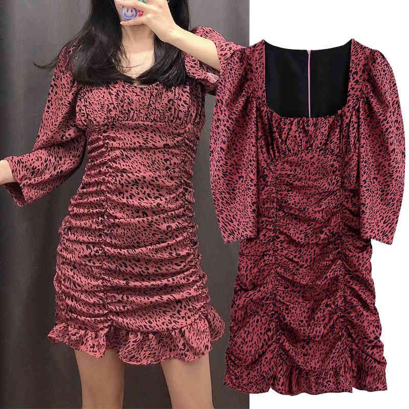 Casual Dresses Spot printing Folds dress Square Collar long sleeves Women mini slim waist chic party mujer YOKE