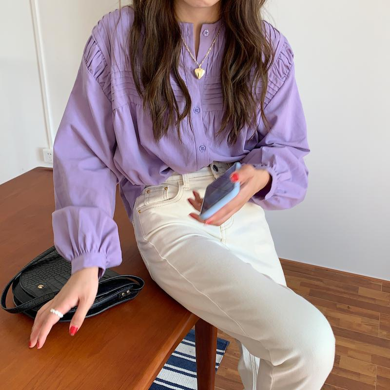 Spring and summer style simple pleated shirt women's Korean loose thin round neck long sleeve top fashion